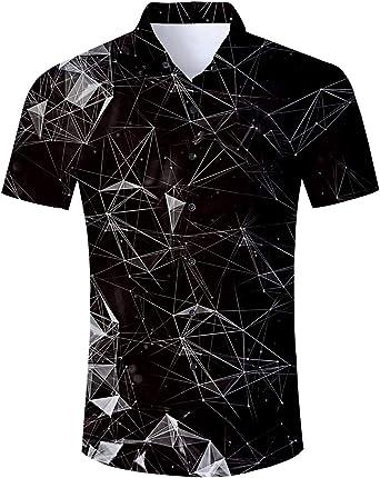 Loveternal Camisa Hawaiana para Hombre Impresión 3D Manga Corta Hawaii Funky Shirt Ocio Camisas M-XXL