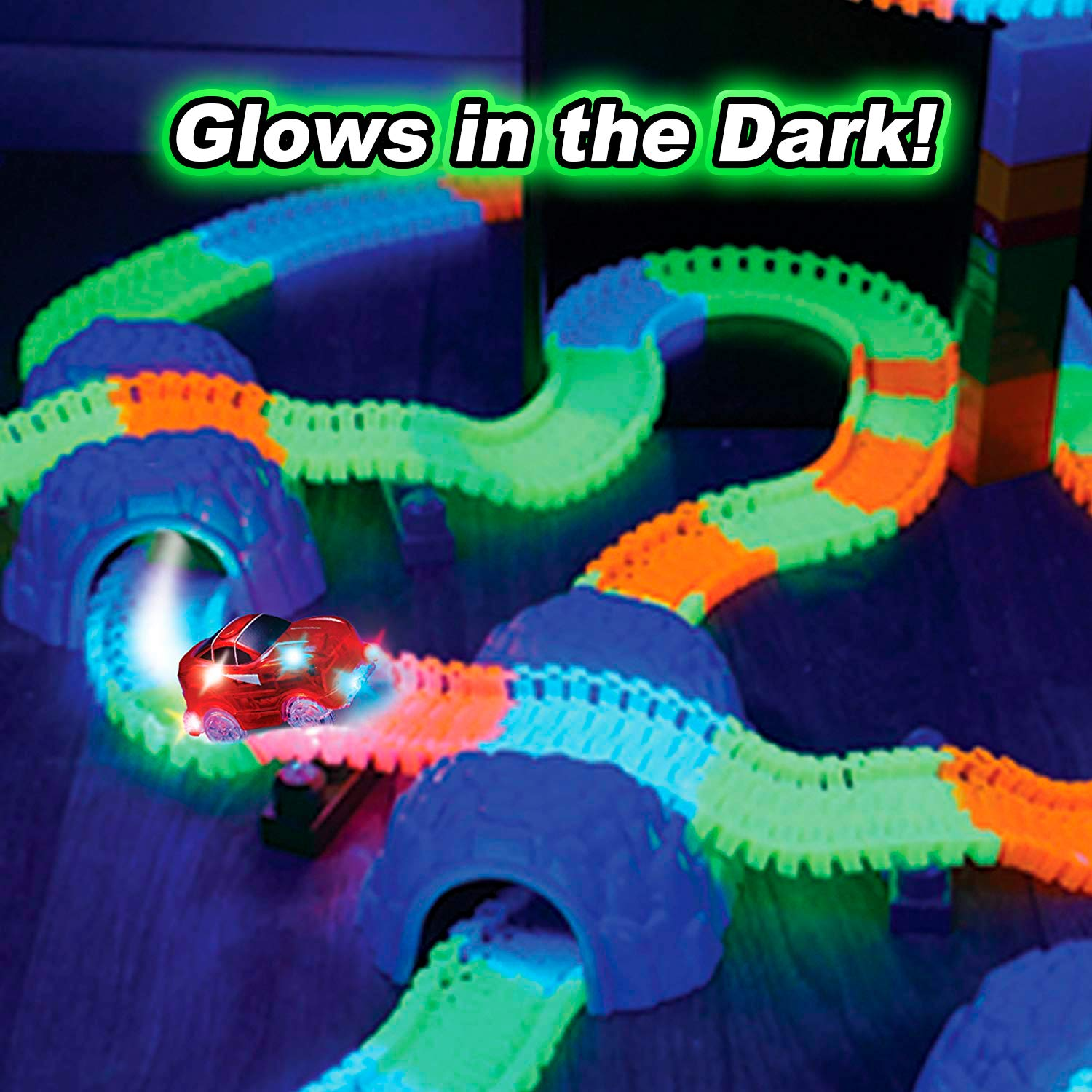 VICTOREM Twister Tracks Neon Glow in the Dark - 165 Pieces of Flexible Bendable Magic Race Tracks with 1 LED Race Car Customizing Speedway Toy Set for Kids Christmas / Birthday Gift VTM021-165P