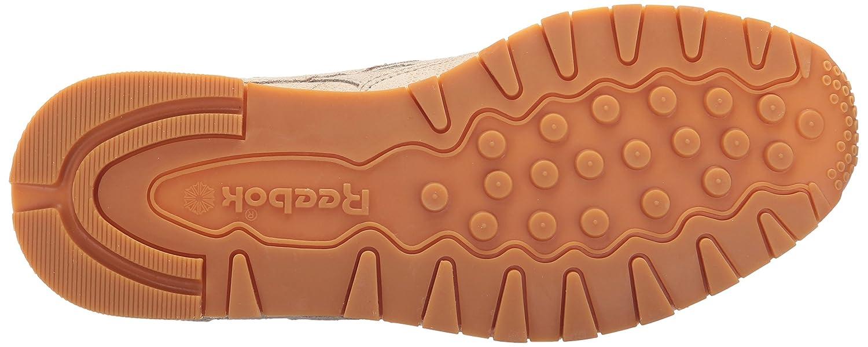 Reebok Women's CL Lthr Clean Exotic Print Track Shoe B01NH5S3Z1 9 B(M) US|Stucco/Chalk/Sand Stone/Gum