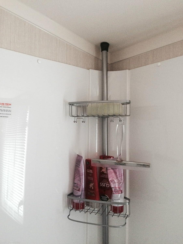 Non Rust Bathroom Telescopic Corner Shelf Storage 4 Tier Shower ...