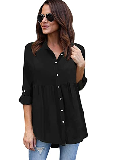374b9b73e Women's Casual Loose Fit Cuffed Sleeve Pleated Chiffon Button Down Blouse T- Shirt Top (