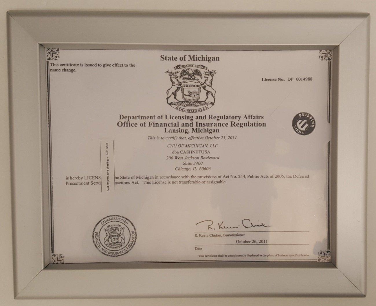 Amazon.com: Business license frame Michigan 8.5x11 (Heavy Duty): Industrial & Scientific