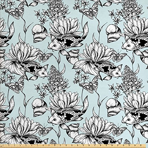Ambesonne Shabby Chic Fabric by the Yard, Vintage Monochrome Pond Water Flowers Lily Carp Snail Twigs Artwork, Decorative Fabric for Upholstery and Home Accents, Baby Blue Black (Monochrome Twigs)