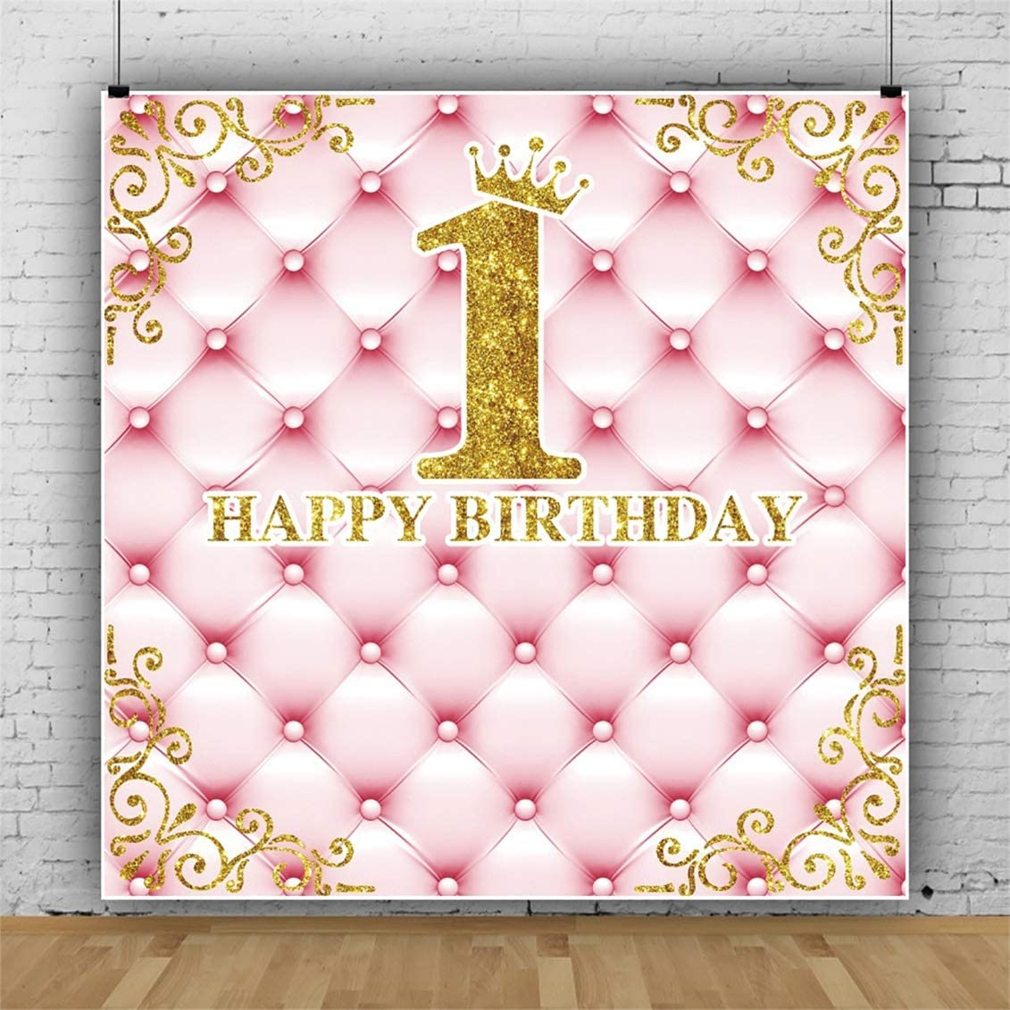 Yeele 5x5ft Girl Birthday Party Backdrop Little Princess 1st First Birthday Photography Background Sweet Pink Royal Crown for Girl Artistic Portrait Cake Table Decorations Photo Shoot Props