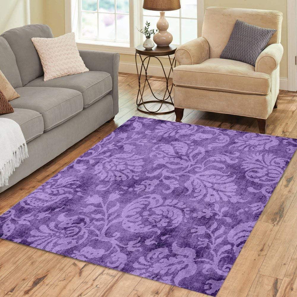 Semtomn Area Rug 5' X 7' Baroque Vintage Purple Floral Lavender Damask Flower Home Decor Collection Floor Rugs Carpet for Living Room Bedroom Dining Room