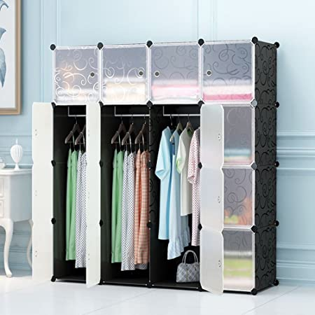 DIY Plastic Wardrobe Portable Clothes Storage Organiser Closet With  Translucent Doors Storage Unit(16 Cubes