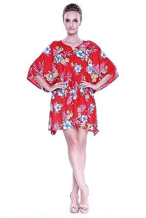d2c73a76e76b Hula Batik's Women's Hawaiian Poncho with Tie Dress in Hibiscus Red ...