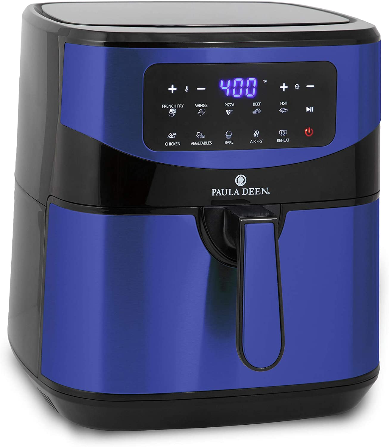 Paula Deen Stainless Steel 10 QT Digital Air Fryer (1700 Watts), LED Display, 10 Preset Cooking Functions, Adjustable Time and Temperature, Ceramic Non-Stick Coating, Auto Shut-Off, 50 Recipes (Blue Stainless)