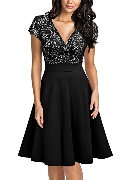 Amazon.com: Miusol Vestido para mujer con elegante escote en ...