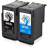 H&BO For Canon PG-640XL CL-641XL Remanufactured Ink Cartridge Use for Canon PIXMA MG2160 MG2260 MG2460 MG3160 MG3260 MG3560 MG4160 MG4260 MX376 MX396 MX436 MX456 MX476 MX516 MX526 MX536 Home TS5160 (1 Black 1 Tri-color)