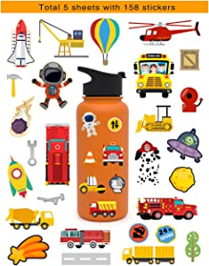 HaokHome S-026 158pcs Spaceship Car Stickers for Teens Kids Toddler Stickers for Water Bottles Laptop Scrapbooking Hydro Flask Stickers Vsco Stickers Wall Stickers Room Decor