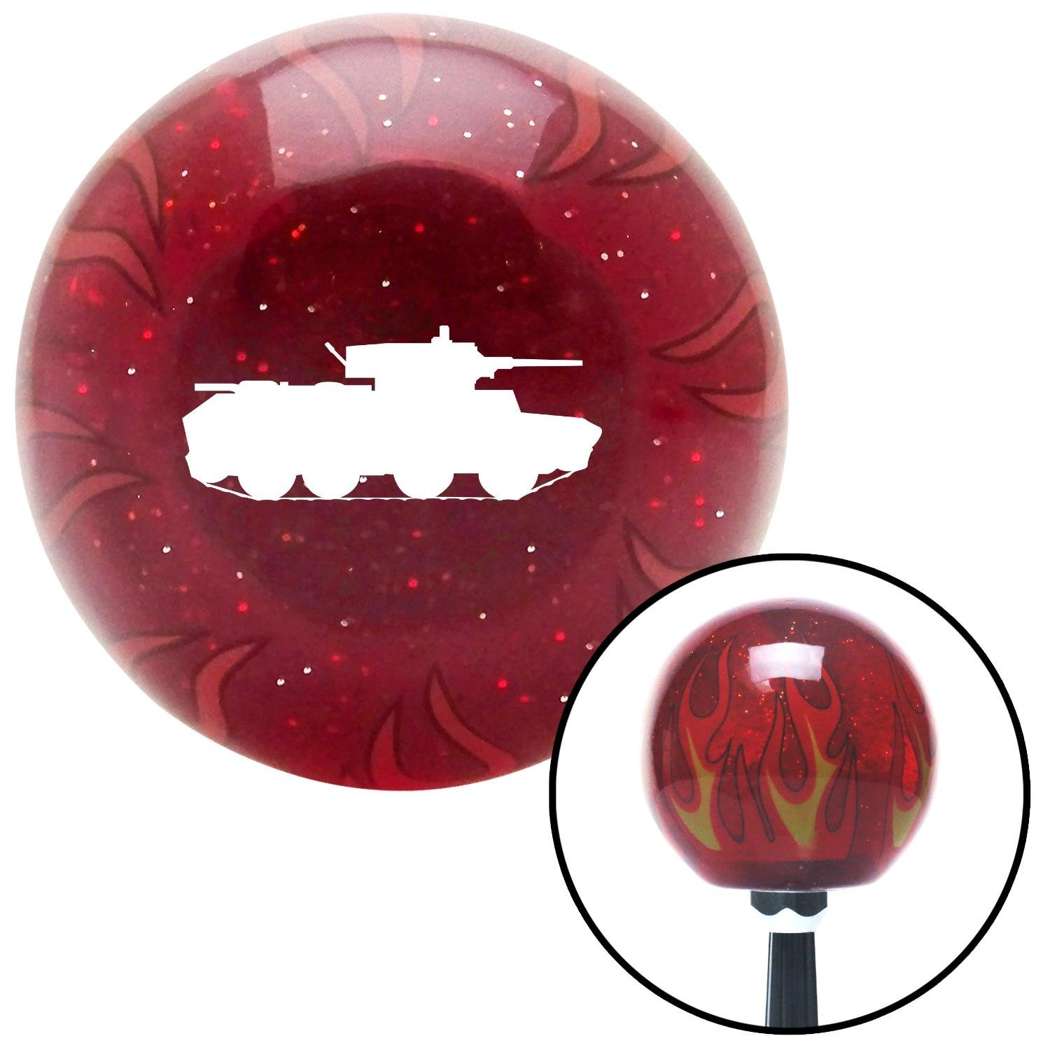 American Shifter 240280 Red Flame Metal Flake Shift Knob with M16 x 1.5 Insert White Military Tank