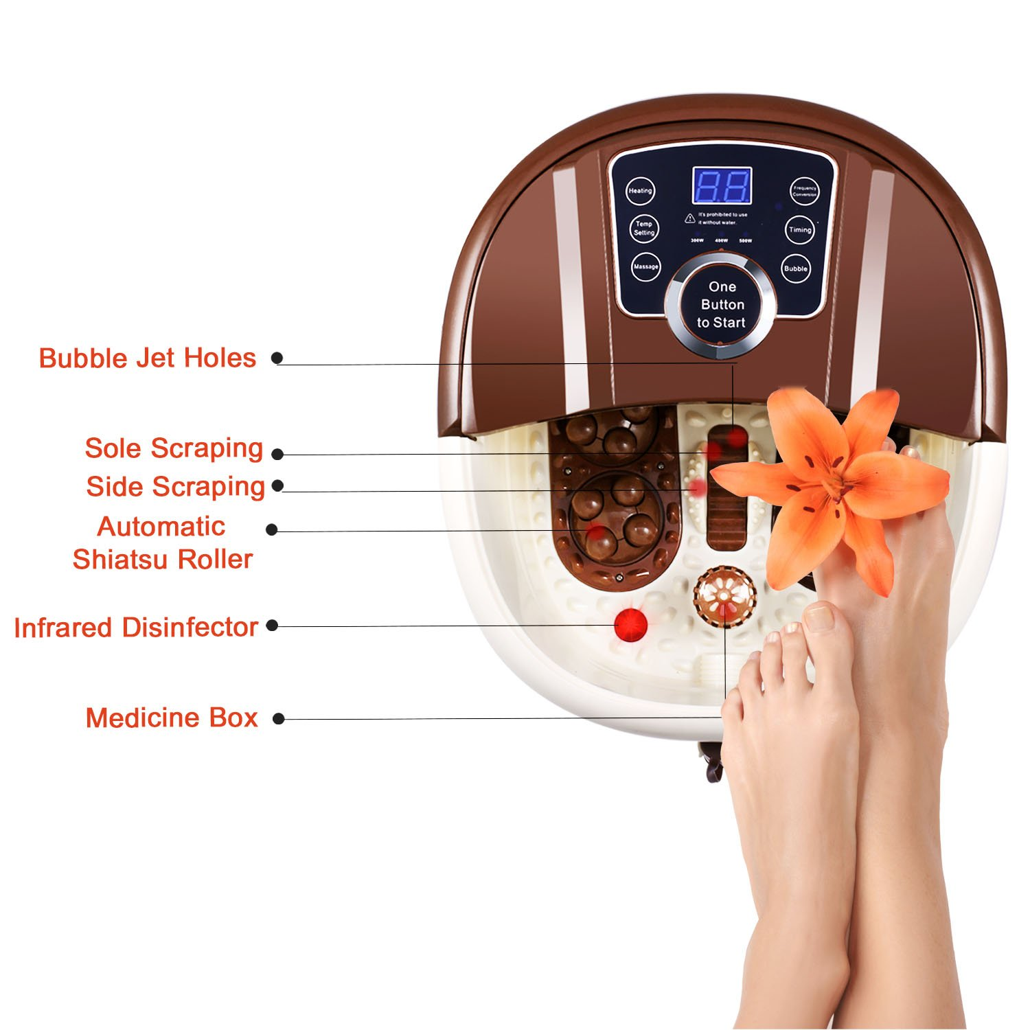 [ Best Gift !!! ] Guisee All in One Foot Spa Massager, Tai Chi Motorized Shiatsu Roller Massaging Acupuncture with O2 Bubbles,Digital Adjustable Temperature & Frequency Conversion on LED Display by Guisee (Image #3)