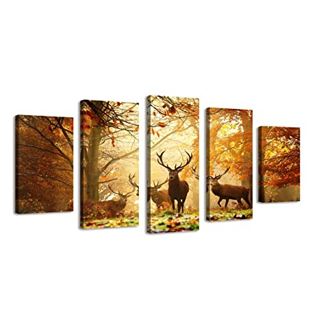 Amazon.com: BIL-YOPIN Large Framed Canvas Wall Art Paintng Deer in ...