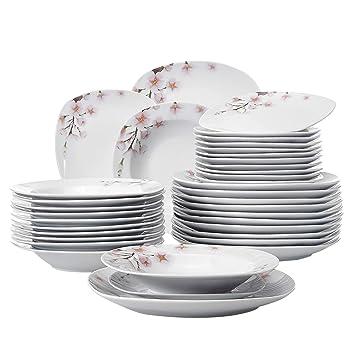 344b12b9387616 Veweet ANNIE 36pcs Assiettes Pocelaine Service de Table 12pcs Assiettes  Plates 24,7cm, 12pcs