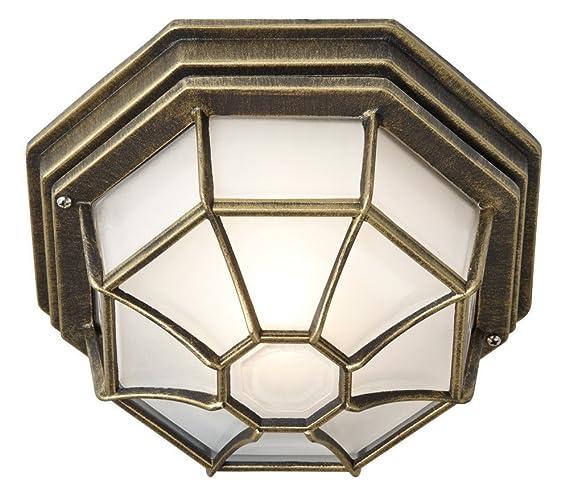 Haysoms hexagonal flush ceiling porch light with frosted glass haysoms hexagonal flush ceiling porch light with frosted glass diffuser metal gold mozeypictures Images
