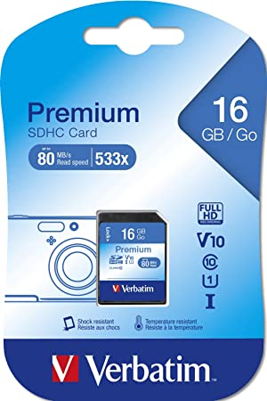Verbatim SDHC 16GB - Tarjeta de memoria SDHC de 16 GB (10 MB/s, class 10)