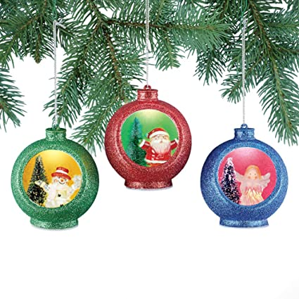 collections etc color changing christmas ornaments set light up santa snowman and angel