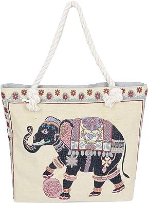 Ladies Big Shoulder Shopping Bags Animal Print Cotton Canvas Rope Handle