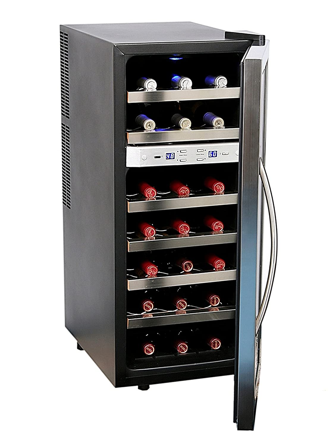 Amazon.com: Whynter WC-211DZ 21 Bottle Dual Temperature Zone Wine Cooler,  Stainless Steel Trimmed Glass Door with Black Cabinet: Appliances