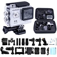 'Kuman 4K WiFi Sport Action Camera 1080p 60fps 12MP 2.0LCD 1080P 170Degree Wide Angle Waterproof Cam DV Camcorder for Outdoor Bicycle Motorcycle Diving Swimming Sliver with Free Accessories Kit