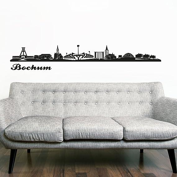 Wandkings Skyline – Adhesivo decorativo para pared 125 x 30 cm, negro, Düsseldorf