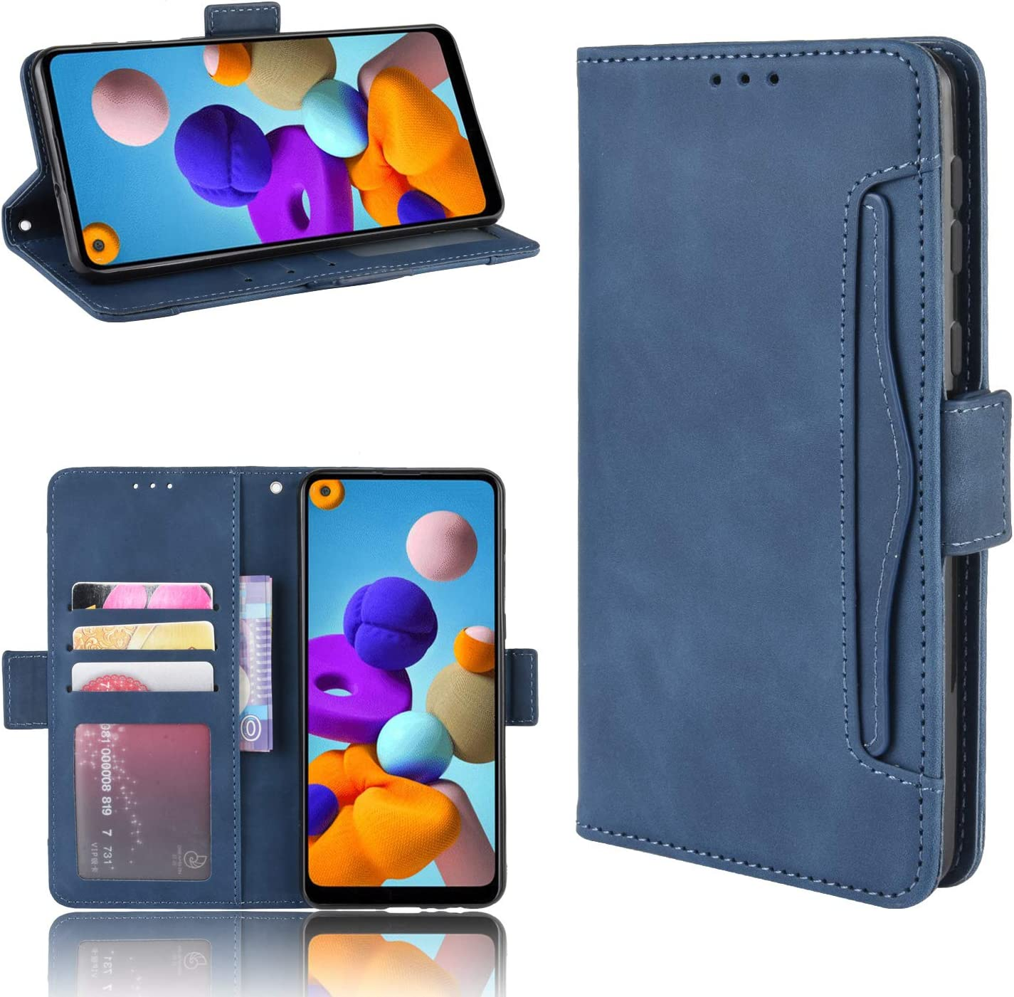 with Wrist Strap and PU Leather Wallet Case Flip Protective Phone Cover 4-Slots ID/&Credit Cards Pocket for Samsung Galaxy A21 2020 Stand Feature Black ERAGLOW for Galaxy A21 Case