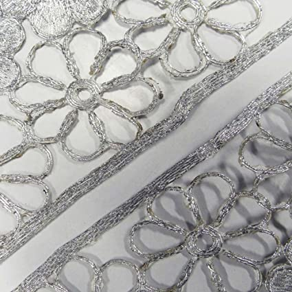 Amazon Com Floral Designer Neck Applique Silver Handcraft Sewing