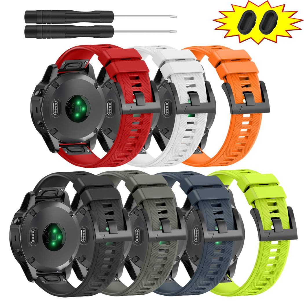ZEROFIRE Bands for Garmin Fenix 5 and Fenix 5 Plus Watch Strap Replacement Silicone Band Compatible with Forerunner 935, 945, Approach S60, Quatix 5 Smartwatch, Including Anti-dust Plug - 7 Pcs by ZEROFIRE