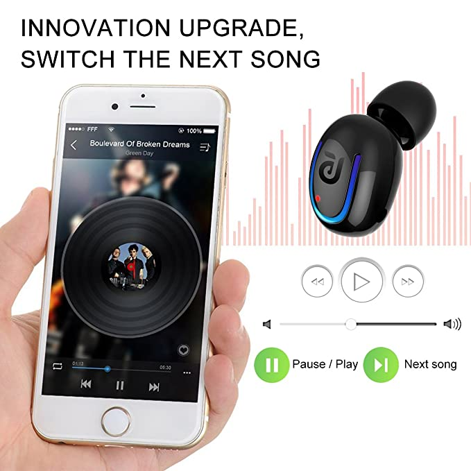 Bluetooth Headphone Qcengs Wireless Sport Earbud 8 Hours Talking Time HD Microphone Bluetooth Headset One Piece- Black: Amazon.es: Electrónica
