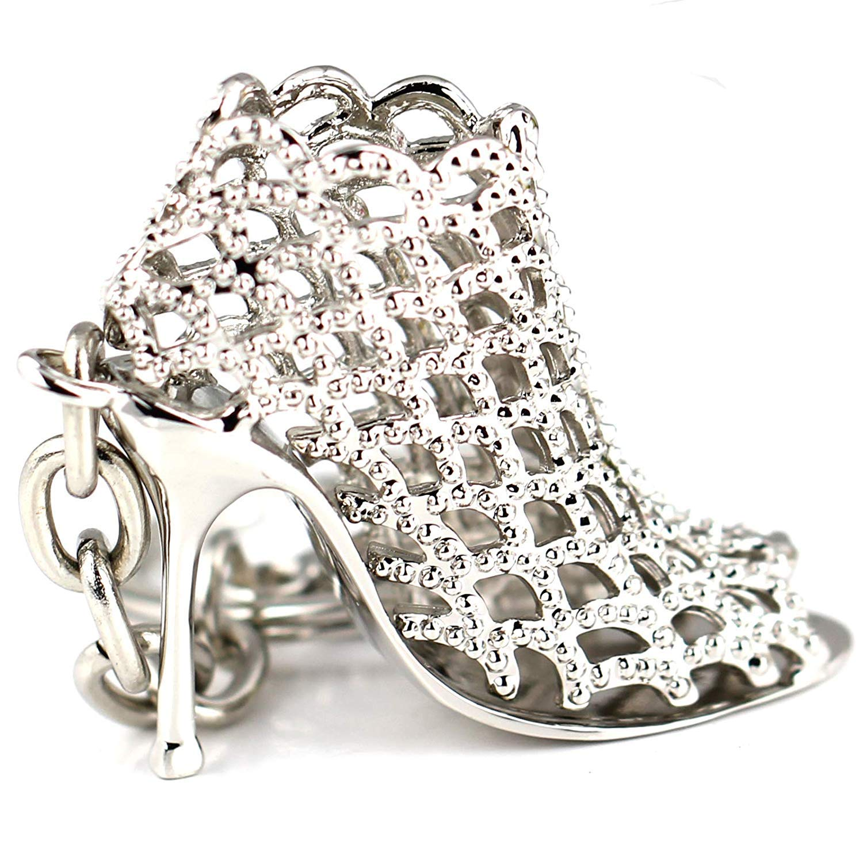 Amazon.com  Maycom Silver High-heeled Shoe Keychain Creative Fashion  Refinement Lady Gift Hollow Shoes Keyring Key Chain Ring Keyfob 86113   Automotive 5d578e0b4131