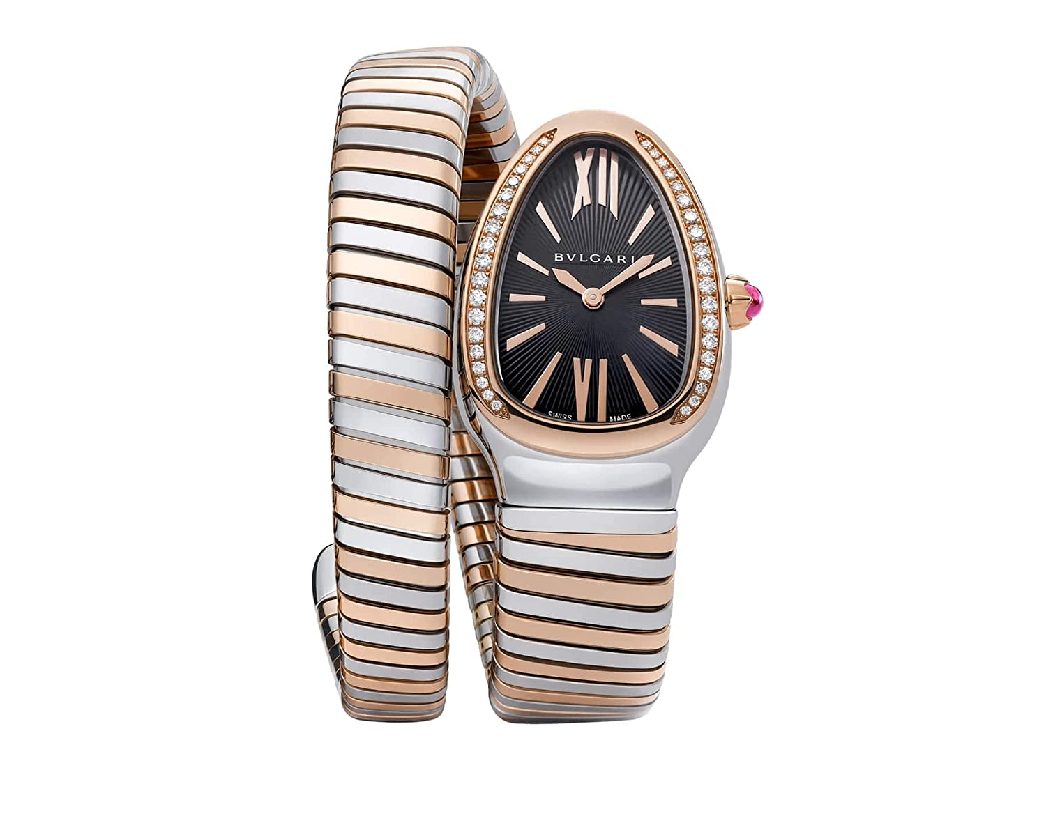 Bulgari Serpenti Tubogas Rose Gold Steel with Diamonds Womens Watch