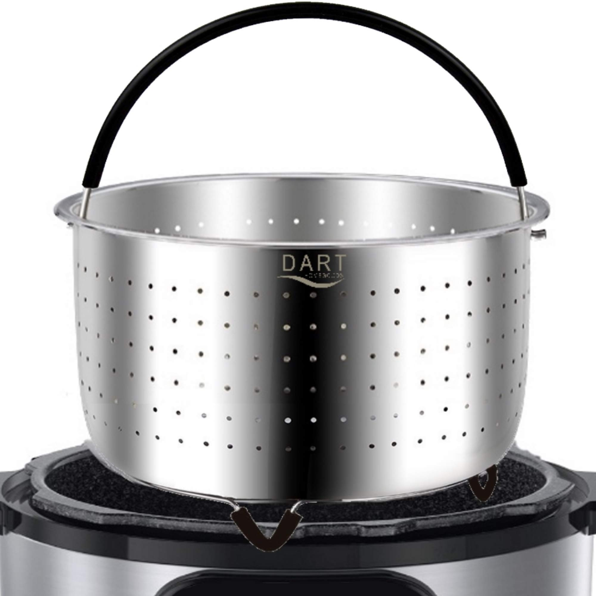 The Original - Steamer Basket Insert, Stainless Steel - for 6 qt and 8 Quart Instant Pot, Pressure Cooker - Strainer for Pasta, Rice Tamales, Fish, Veggies, Eggs by DART Homegoods