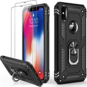 iPhone Xs Max Case with Tempered Glass Screen Protector,Military Grade 16ft. Drop Tested Cover with Magnetic Ring Kickstand Protective Phone Case for iPhone Xs Max Black