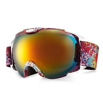 Carfia Weitwinkel Ski Sonnenbrille Schutzbrille UV400 Anti-Fog Skibrille Snowboardbrille Goggle für Damen und Herren Wintersport (A) HwBSeyVZ