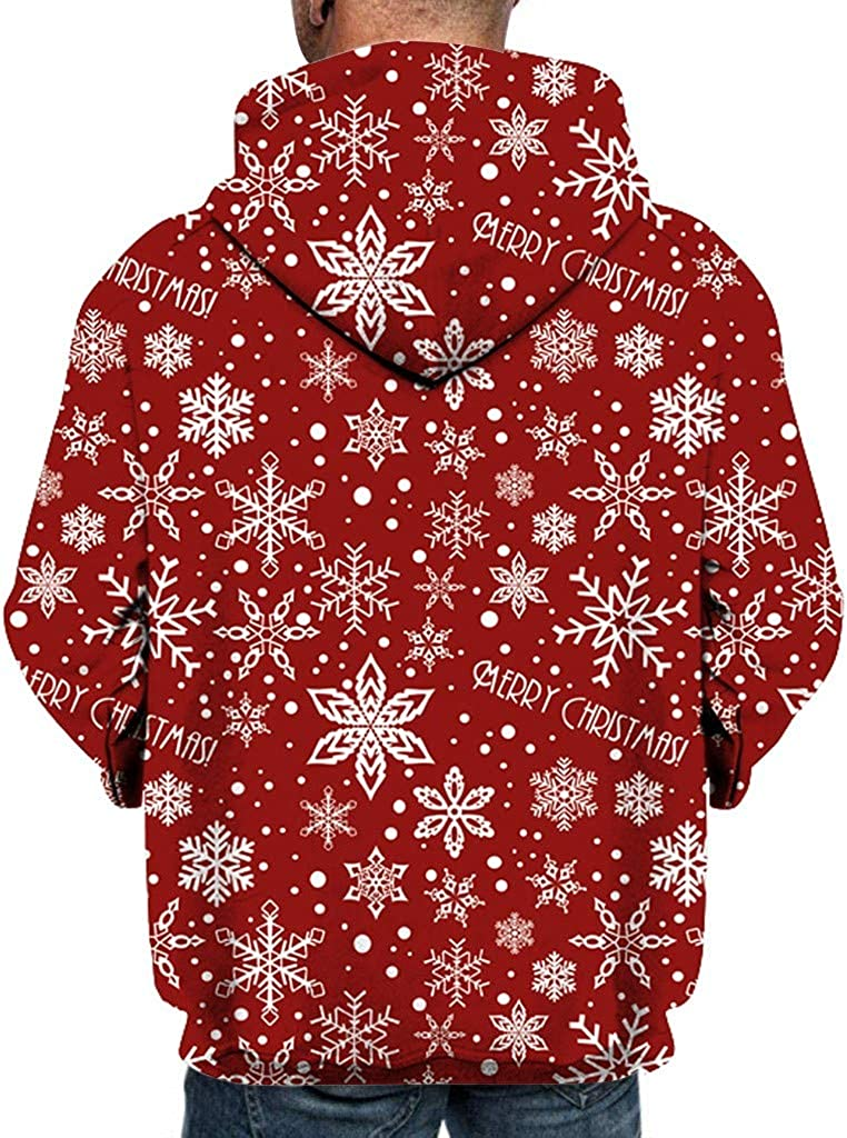 Dermanony Unisex 3D Digital Printed Christmas Hoodies Long Sleeve Loose Casual Sweatshirts with Pockets for Men Women