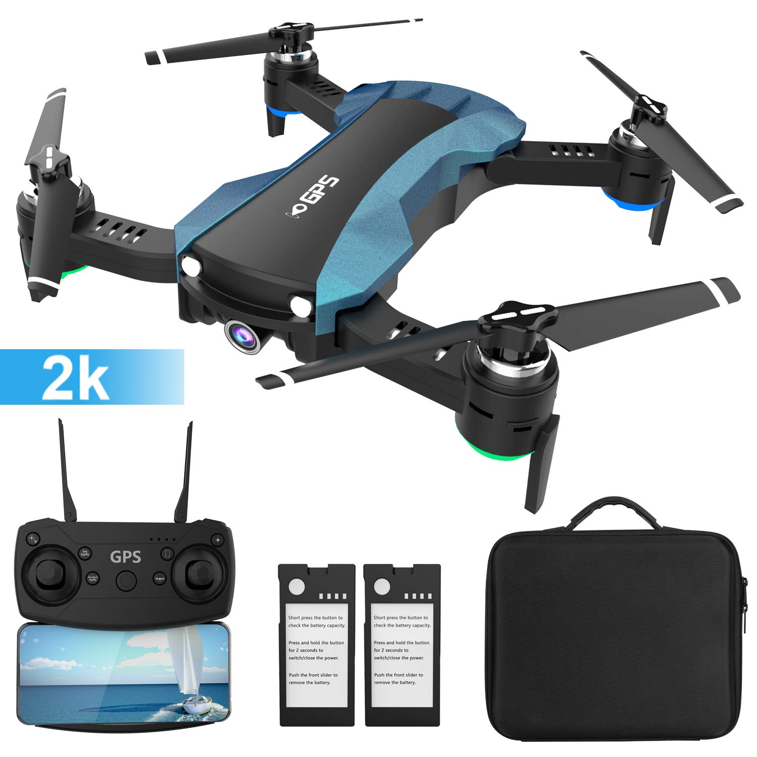 HUKKKYVIT Foldable GPS Drone with Camera for Adults 2k 5G WiF HD FPV, Quadcotper with Auto Return Home, Follow Me, Altitude Hold, Tap Fly Functions, Includes 2 Batteries and Carrying Case by HUKKKYVIT