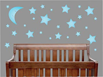 Amazon.com : Blue Moon and Star Wall Decals / Star Nursery Wall ...