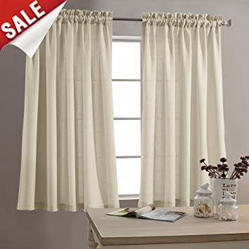 Tier Curtains Semi Sheer Short Curtains Kitchen Casual Weave Cafe Curtains  Half Window Treatments 2 Panels 45\