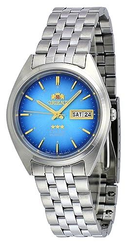 Orient # fab0000al Hombre 3 Star Acero Inoxidable día Fecha Esfera Azul Reloj automático: Amazon.es: Relojes