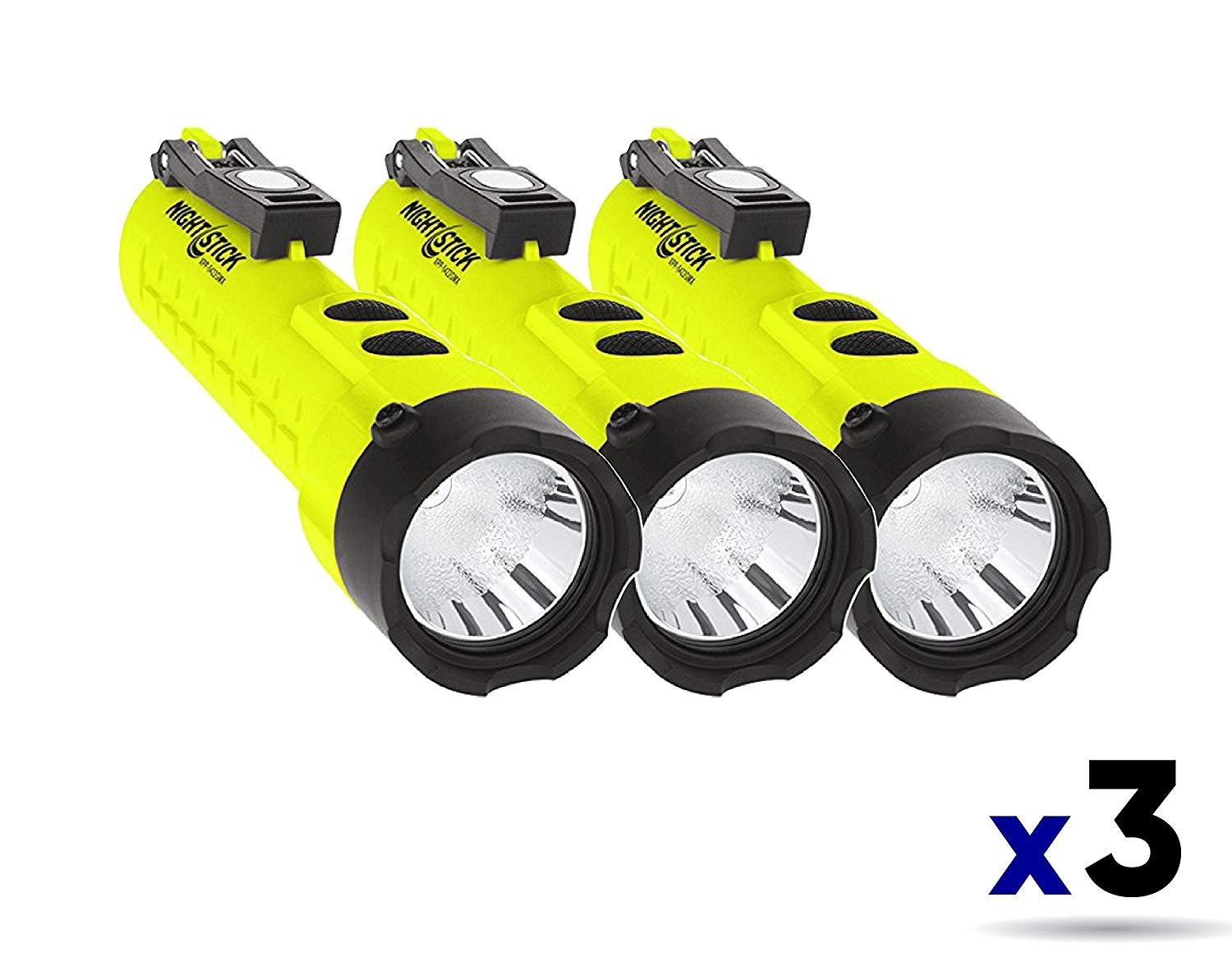 Nightstick XPP-5422GMX X-Series Intrinsically Safe Dual-Light Flashlight with Dual Magnets Green/Black (3 Pack)