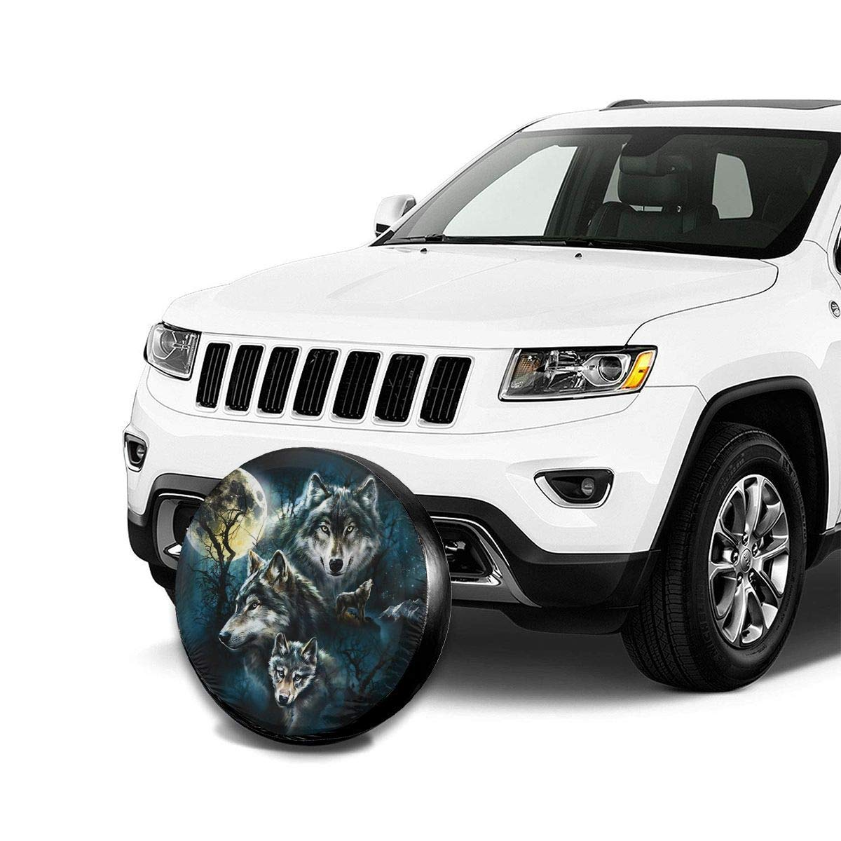 Wolf Family Potable Polyester Universal Spare Wheel Tire Cover Wheel Covers for Jeep Trailer RV SUV Truck Camper Travel Trailer Accessories 14,15,16,17 Inch Vbnbvn Reserveradabdeckung