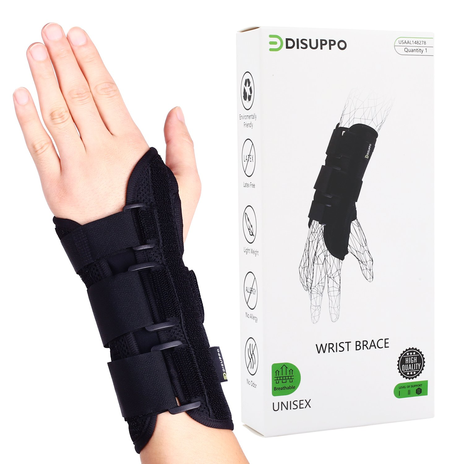 DISUPPO Wrist Brace with Nighttime Removable Splint for Hand - Relief for RSI, Cubital Tunnel, Tendonitis, Arthritis, Wrist Sprains. Support Recovery Wrist Pain & Sports Injuries - Wrist Splint