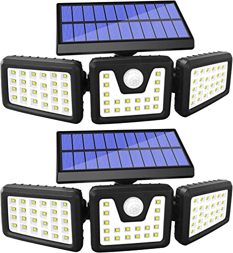 Solar Lights Outdoor Motion Sensor, 3 Adjustable Heads Solar Motion Sensor Light Outdoor, IP65 Waterproof Security Lights 270 Wide Angle Flood Lights for Porch Garden Patio Yard Garage, 2 Pack