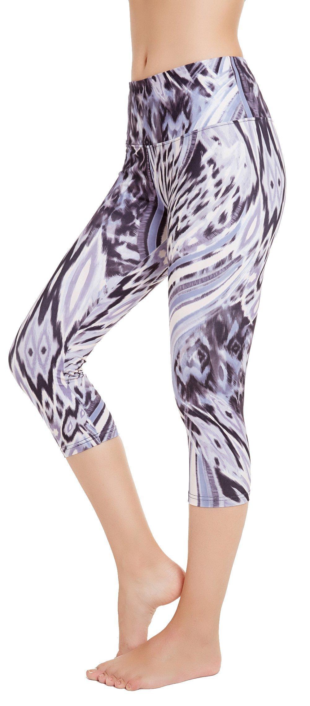 Picotee Women's Printed Yoga Pants Workout Running Capri Leggings w Hidden Pocket (Feather, M)