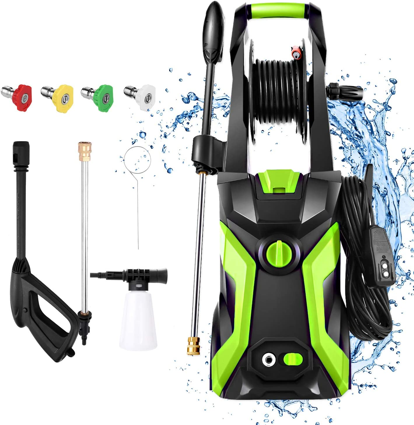 Devo 3500 PSI Pressure Washer, 2.4GPM Electric Power Washer,1800W High Pressure Cleaner Machine with 4 Nozzles & Hose, Cleans Cars/Fences/Patios/Driveways (Green)
