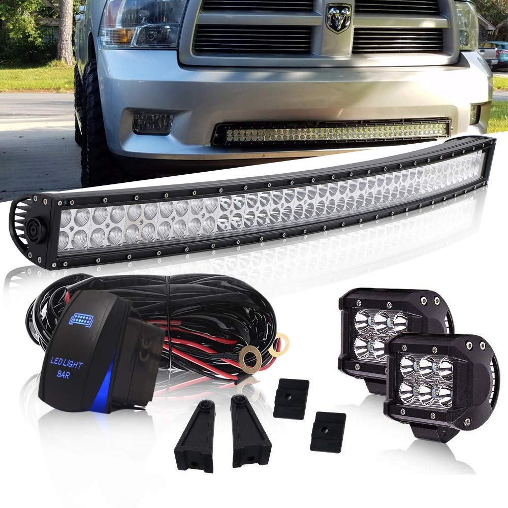 DOT Approved 42 Inch 240W Curved Led Light Bar On Grill Windshield + 4Inch 18W Driving Fog Light W/Wiring Harness Rocker Switch for Offroad Boat ATV Truck Jeep Wrangler Polaris RZR Dodge by QUAKEWORLD