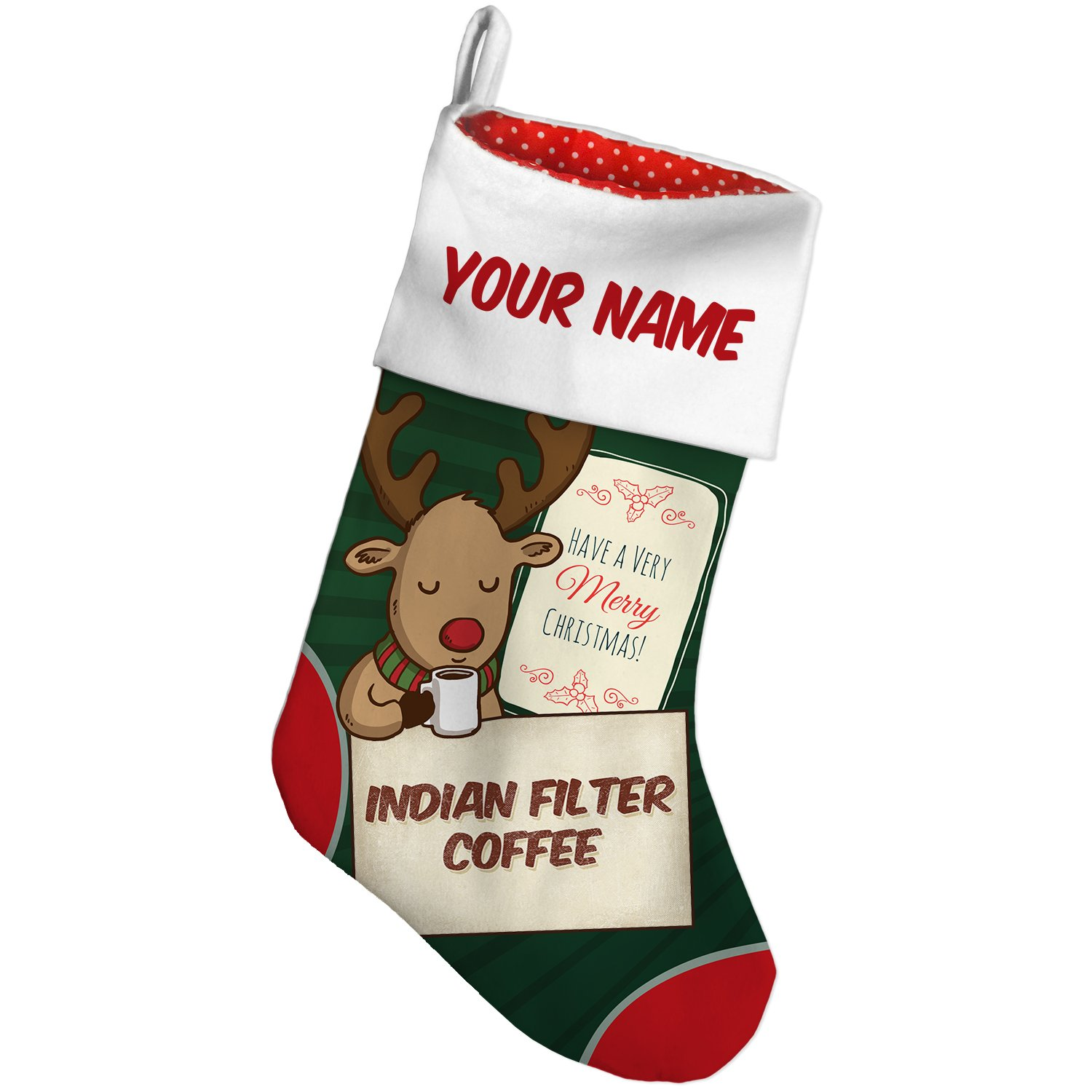 Amazon.com: Christmas Stocking Indian filter Coffee, Vintage style ...