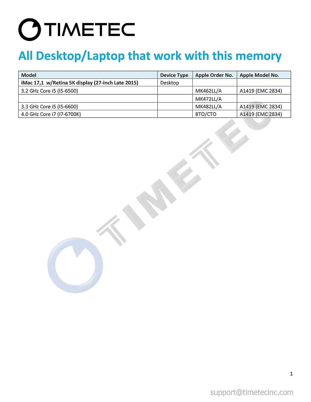 2x8GB 2x8GB 16GB Kit DDR3L 1866MHz PC3-14900 SODIMM Memory Upgrade For APPLE Timetec Hynix IC compatible with Apple 16GB Kit