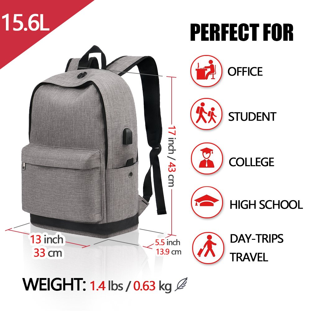 Backpack, Travel Water Resistant School Backpack with USB Charging Port for Women Men, Canvas College Student Bag Bookbag Fits 15.6 Inch Laptop and Notebook, Grey Rucksack Daypack for Outdoor Camping by Vancropak (Image #4)